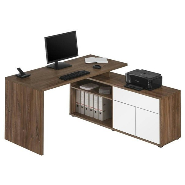 Sconto Rohový psací stůl 7656 dub tmavý/bílá