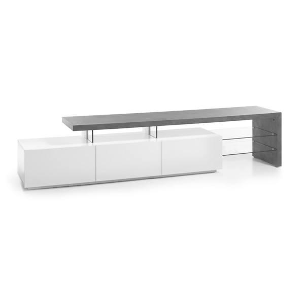 Sconto TV stolek ALEXIS bílá/beton