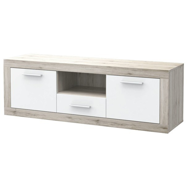 Sconto TV stolek BACCIO bílá/dub pískový