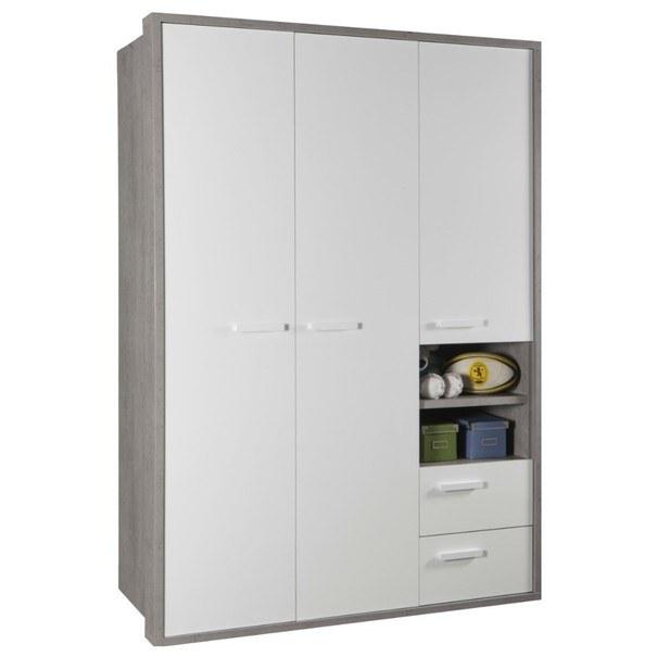 Sconto Šatní skříň BELLE beton/bílá vysoký lesk