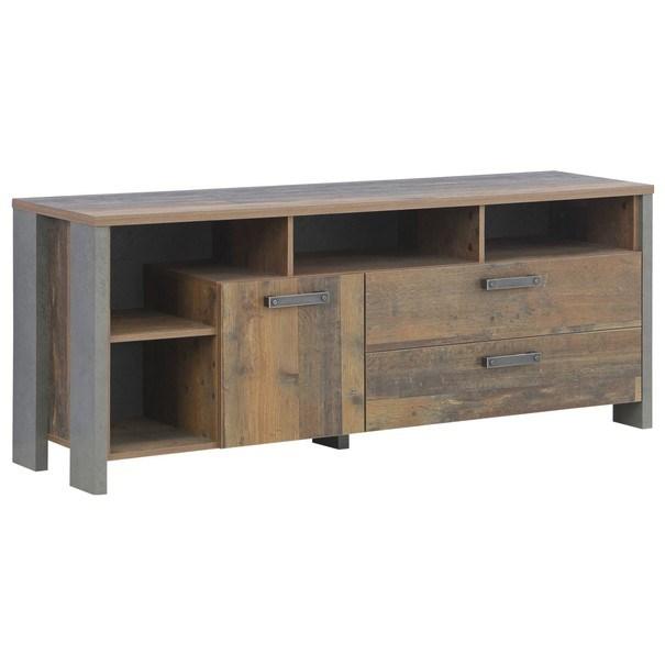 Sconto TV komoda CLIF staré dřevo/beton