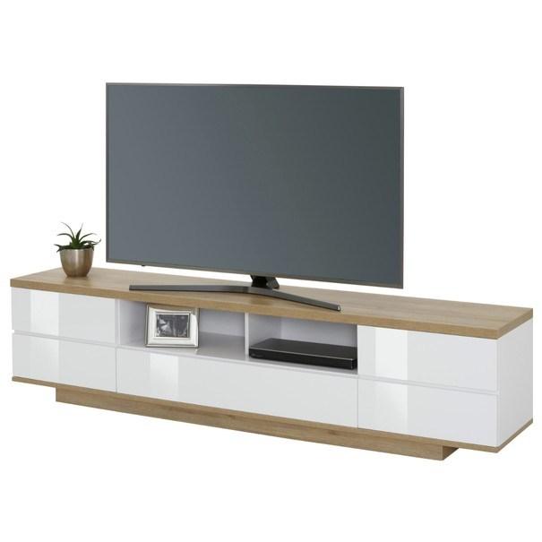 Sconto TV stolek DORIAN bílá/dub riviera