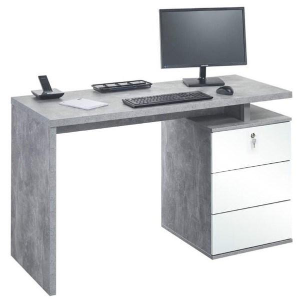 Sconto Psací stůl EMERSON beton/bílá