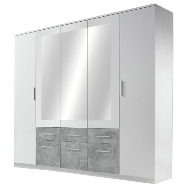 Sconto Šatní skříň FIENA bílá/beton