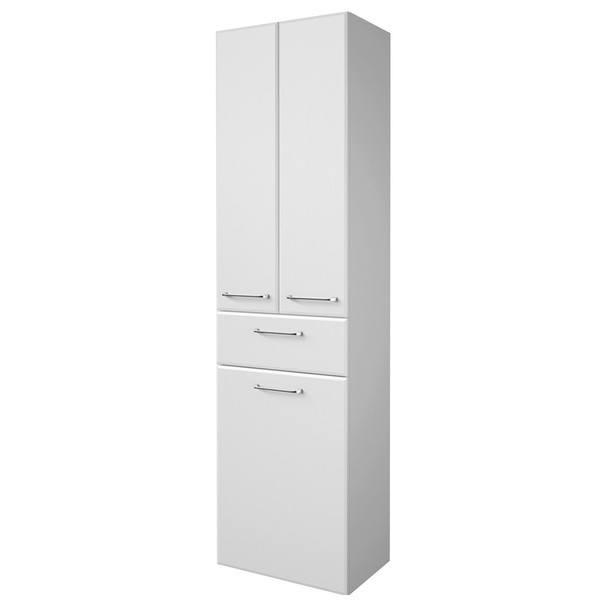 Sconto Vysoká koupelnová skříňka FILO bílá vysoký lesk