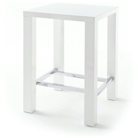 Sconto Barový stůl GERARD 1 bílá/sklo