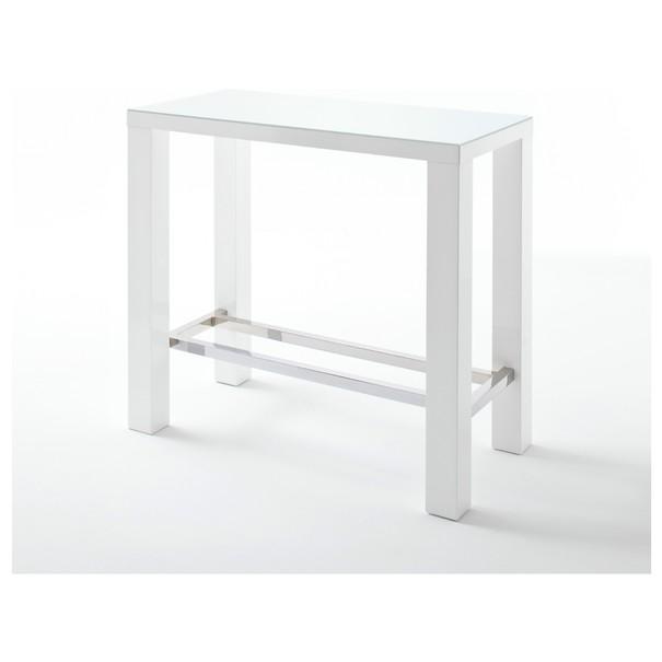 Sconto Barový stůl GERARD 2 bílá/sklo