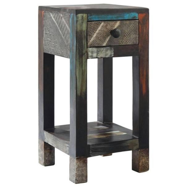 Sconto Přístavný stolek GOA 3503 mangovník/kovové aplikace
