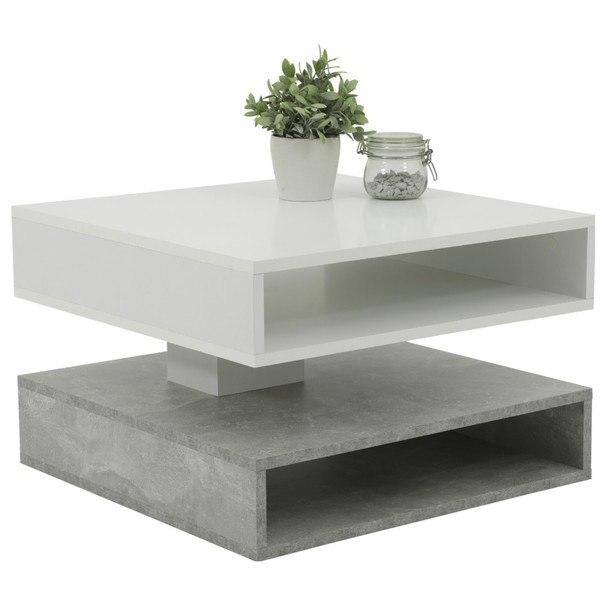 Sconto Konferenční stolek HANNES beton/bílá