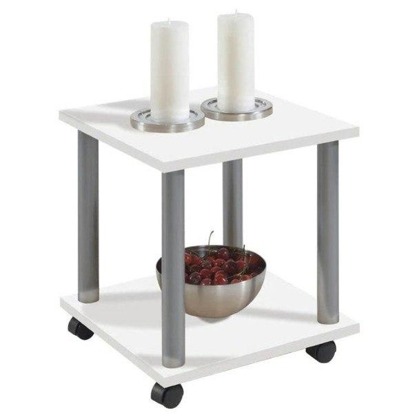 Sconto Přístavný stolek JANGO 11 bílá/kov