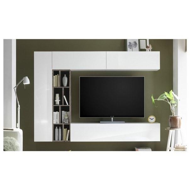 Sconto Obývací stěna NEW VISION 7 dub ribbeck/bílá vysoký lesk