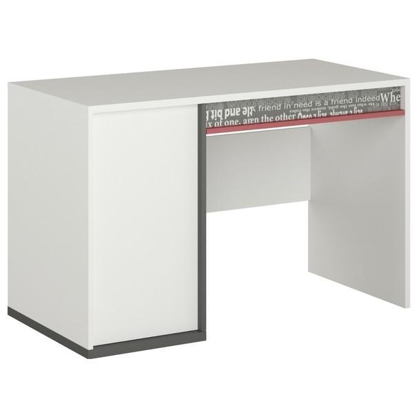 Sconto Psací stůl PHILOSOPHY PH-09 bílá/grafit/červená