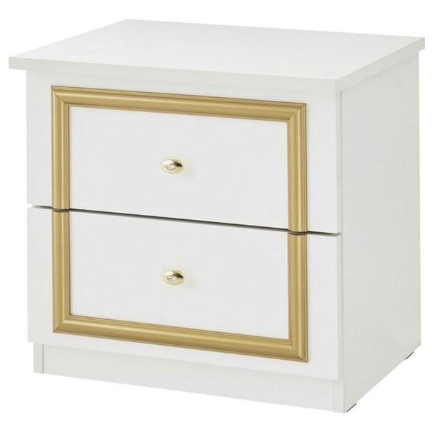 Sconto Noční stolek QUEEN bílo-zlatá