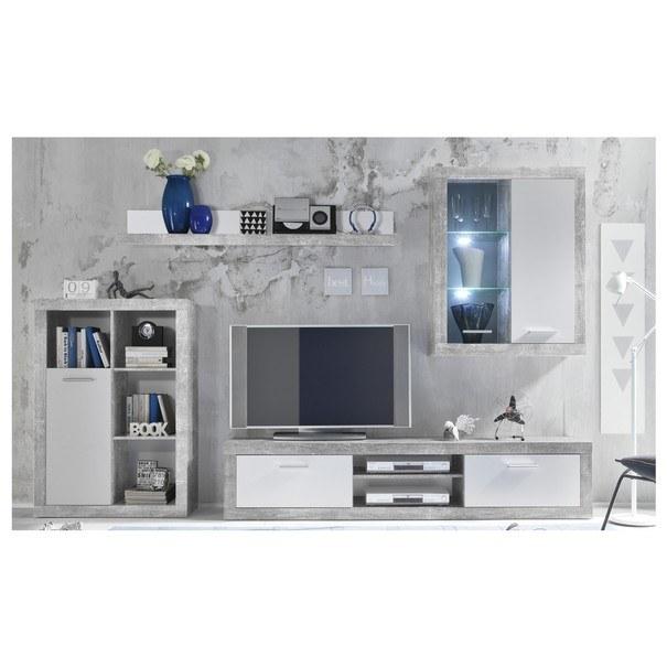 Sconto Obývací stěna SHARK beton/bílá