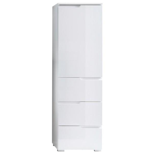 Sconto Polovysoká skříňka SPICE bílá vysoký lesk