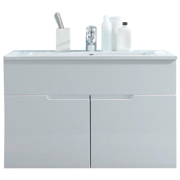 Sconto Umyvadlová skříňka s umyvadlem SPICE bílá vysoký lesk