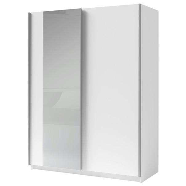 Sconto Šatní skříň se zrcadlem SPLIT bílá/šířka 150 cm
