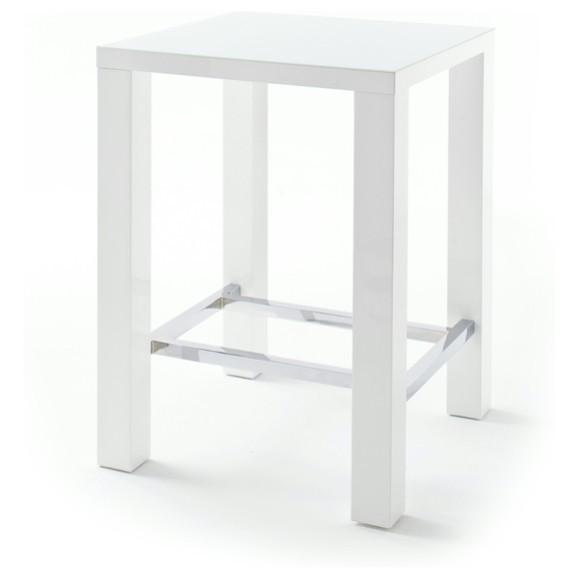 Sconto Barový stůl GERARD 80 bílá/sklo
