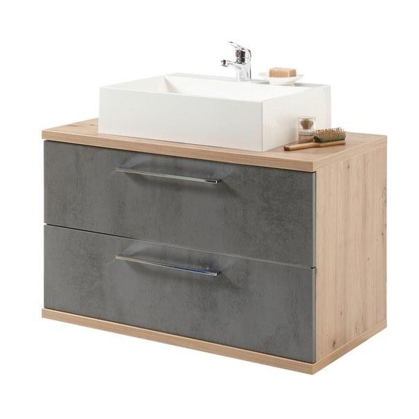 Sconto Umyvadlová skříňka TROJA dub artisan/antracitová