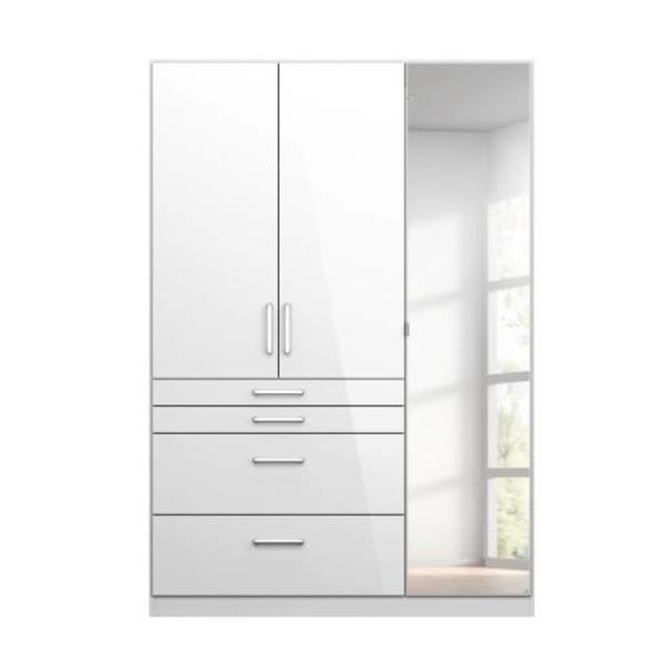 Sconto Šatní skříň HAYDEN bílá vysoký lesk, 3-dveřová se zrcadlem