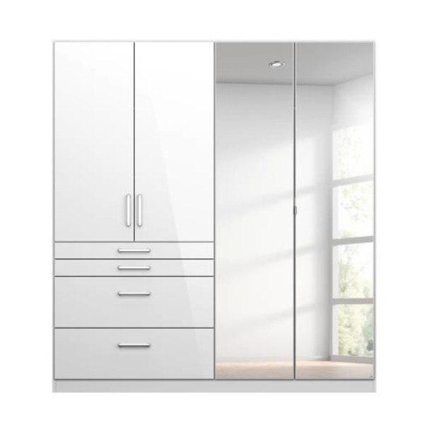 Sconto Šatní skříň HAYDEN bílá vysoký lesk, 4-dveřová se zrcadlem