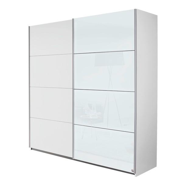 Sconto Šatní skříň VIOLET bílá/ bílé sklo