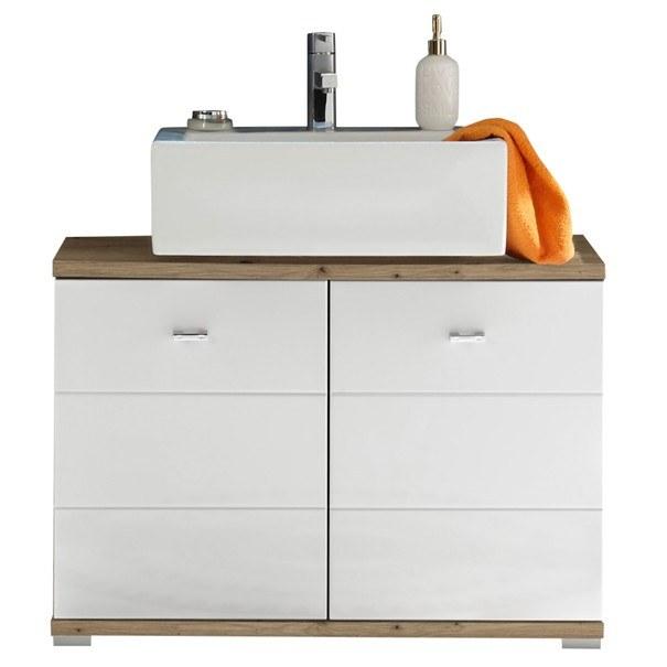 Sconto Umyvadlová skříňka POOL dub artisan/bílá