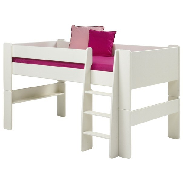 Sconto Zvýšená postel se schůdky FOR KIDS 613 bílá, 90×200 cm
