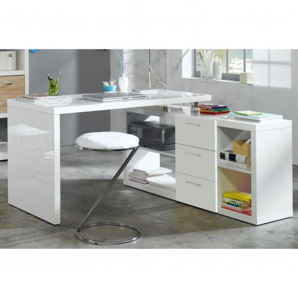 Sconto Rohový PC stůl MATTHEW bílá lesk