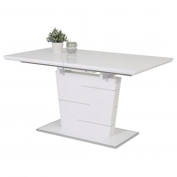 Sconto Jídelní stůl SILA T bílá, vysoký lesk